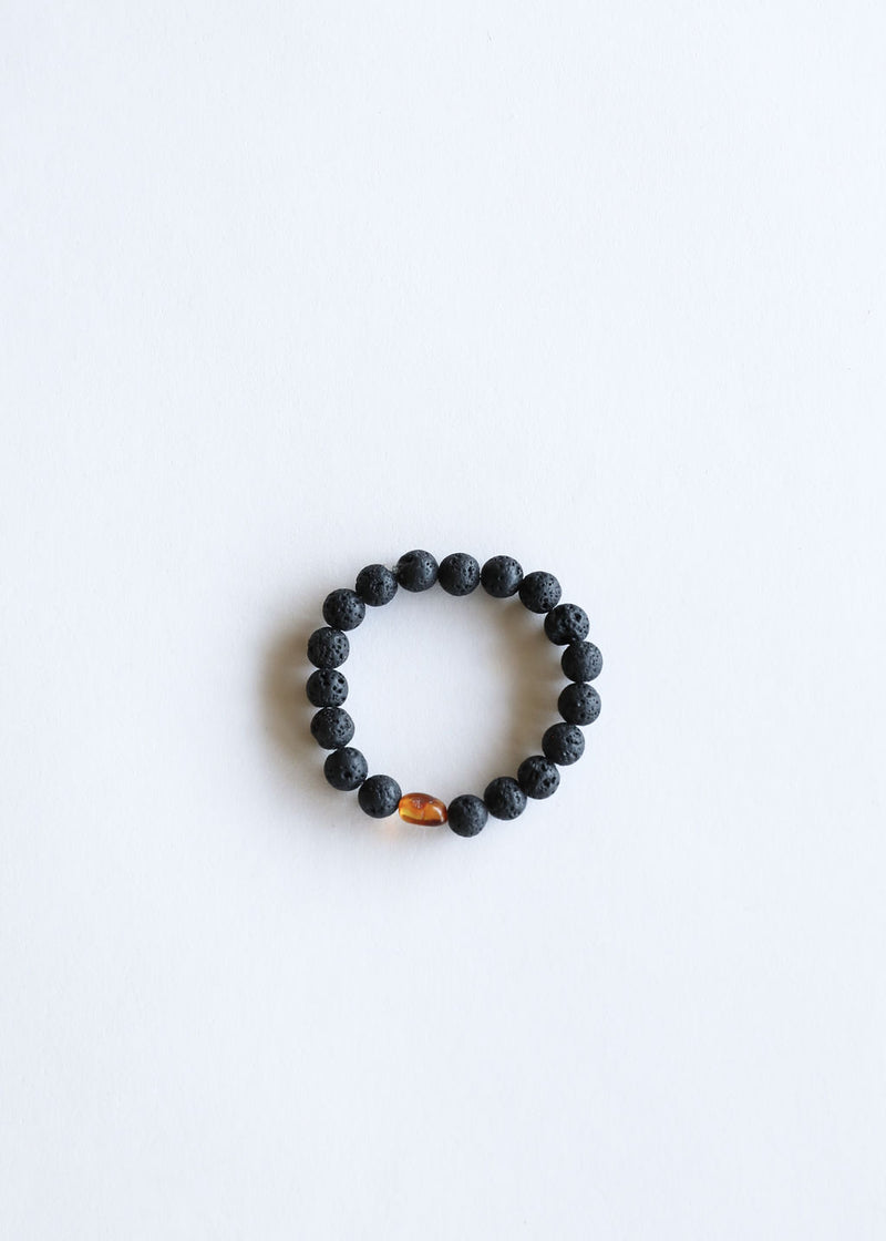 Natural Lava + Amber Bracelet || Adult