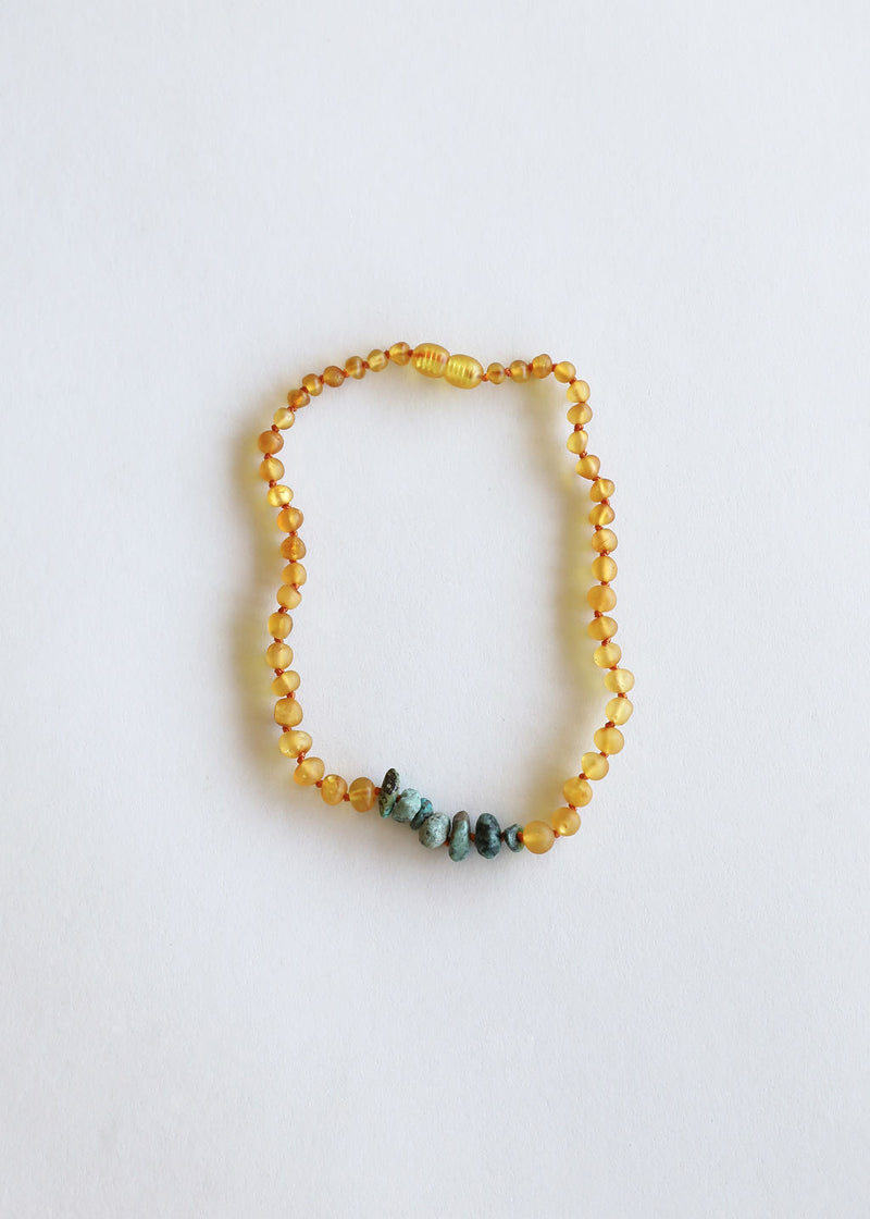 Raw Honey Amber + Raw Turquoise Jasper || Necklace