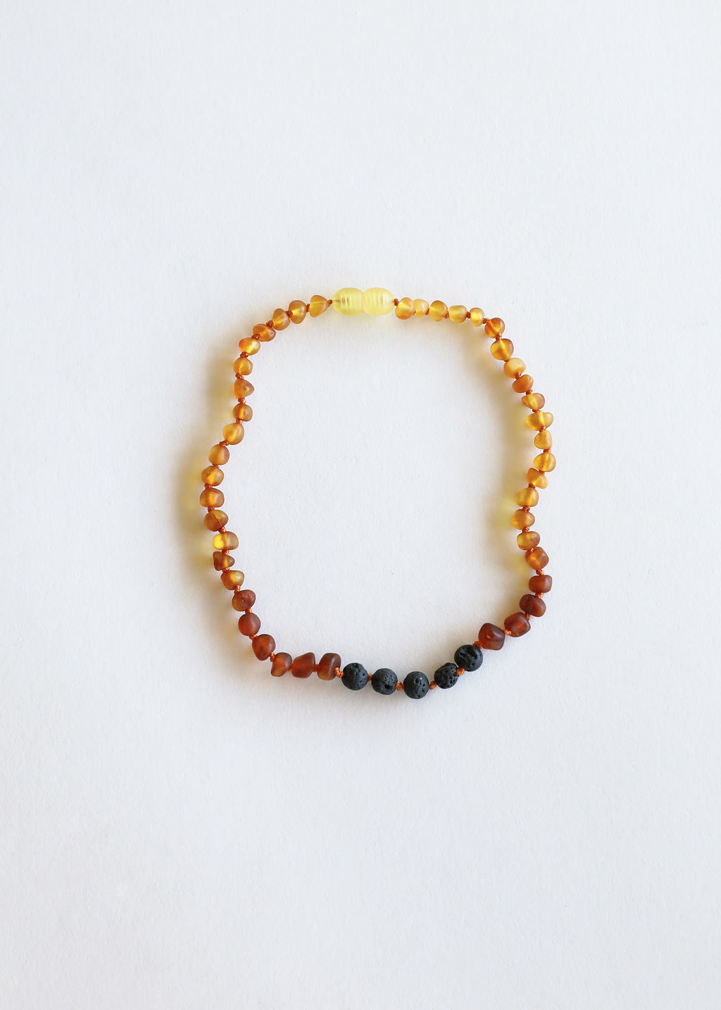 Raw Ombre Amber + Lava Stone Necklace