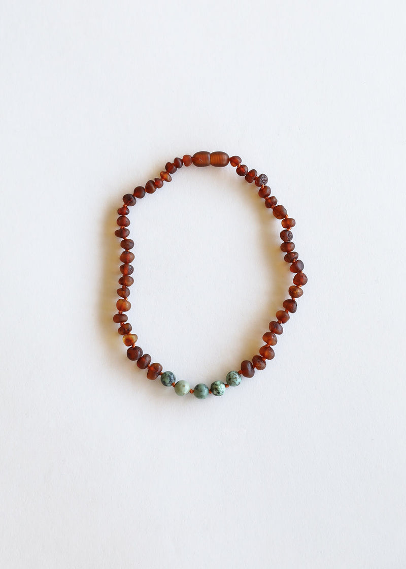 Raw Cognac Amber + Turquoise Jasper Necklace