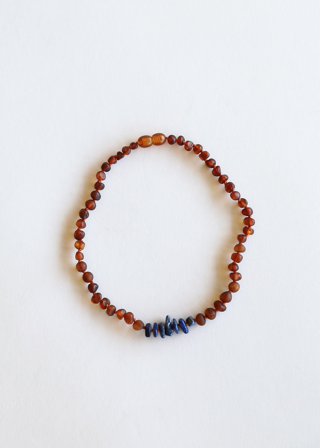 Raw Cognac Amber + Lapis Stone Necklace