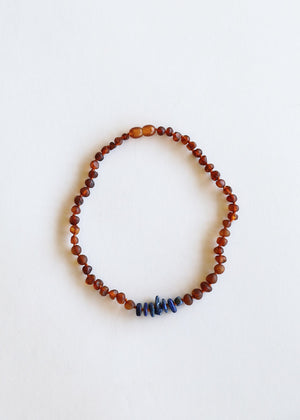 Kids: Raw Baltic Amber Necklace + Lapis Stones