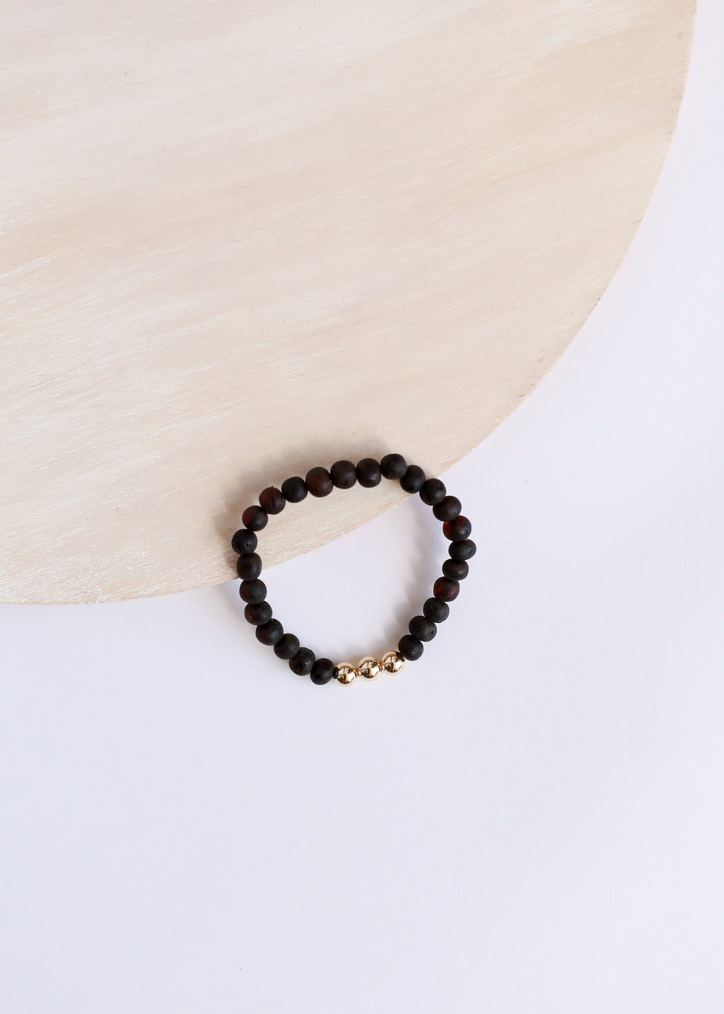 Raw Black Amber + 14k Gold || Adult Bracelet