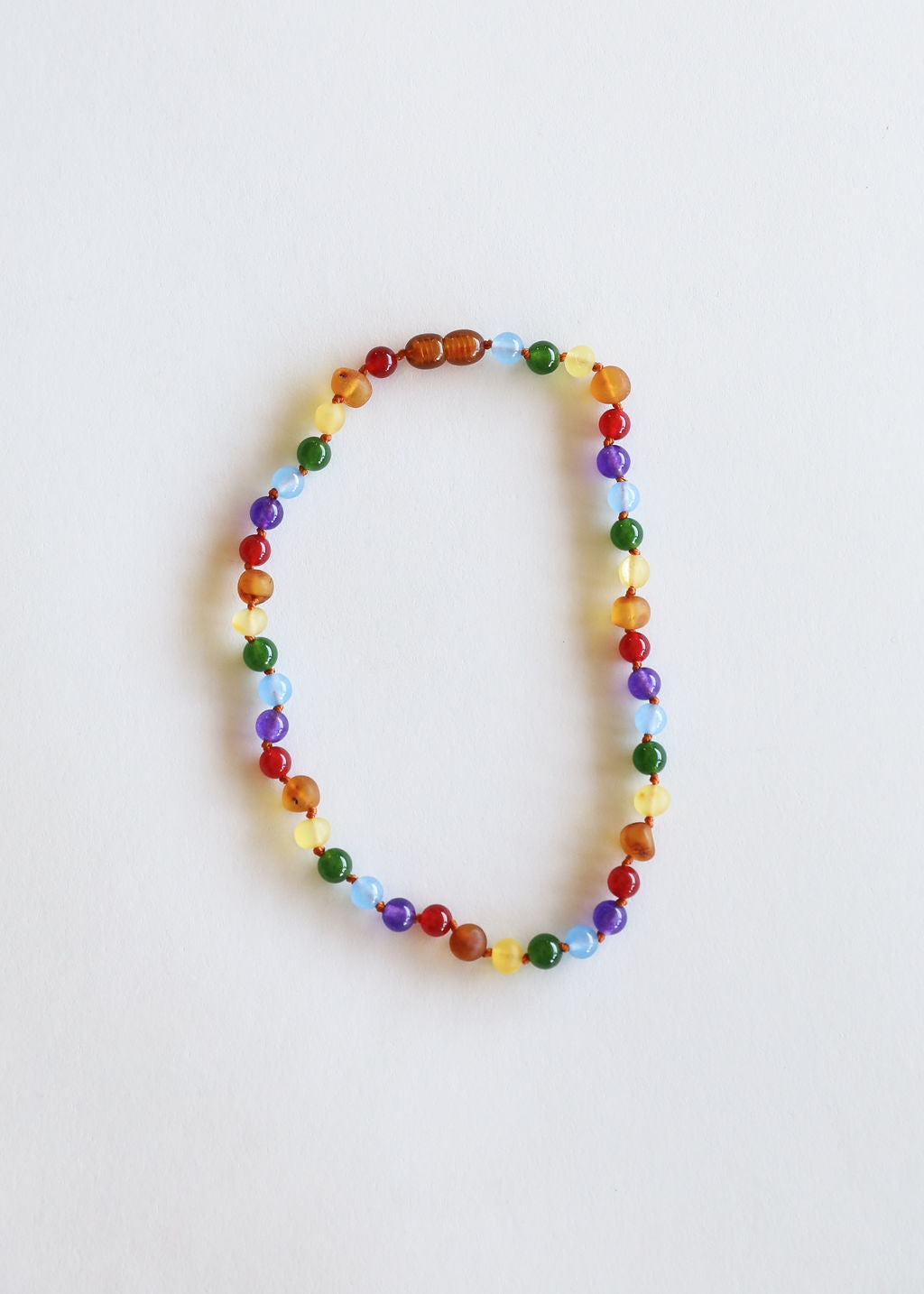 Raw Amber + Gemstone Rainbow Necklace