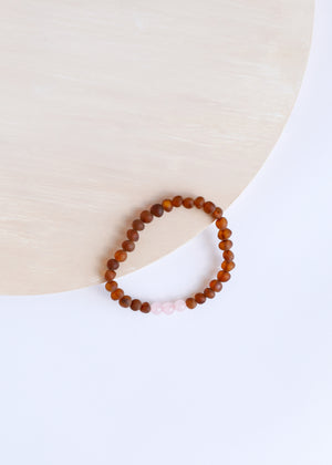 Raw Cognac Amber + Rose Quartz || Adult Bracelet