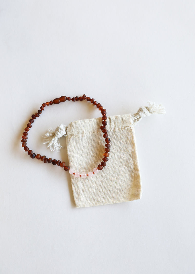 Raw Cognac Amber + Rose Quartz || Mommy & Me || Necklaces