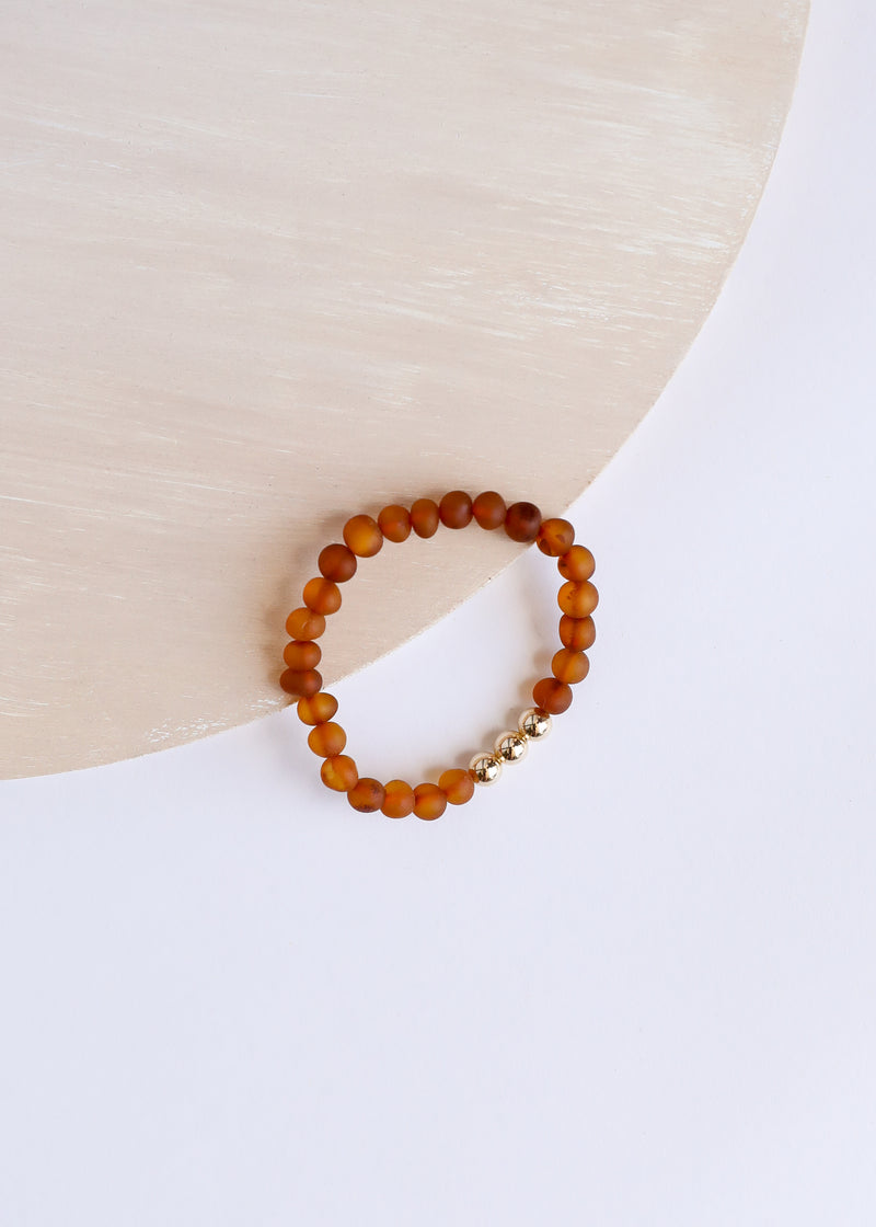 Raw Cognac Amber + 14k Gold || Adult Bracelet Stack ||