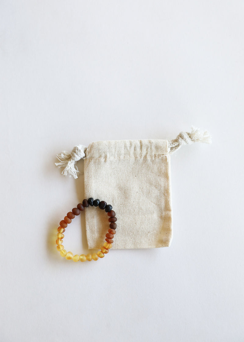Raw Ombre Amber + Lava Stone || Adult Bracelet