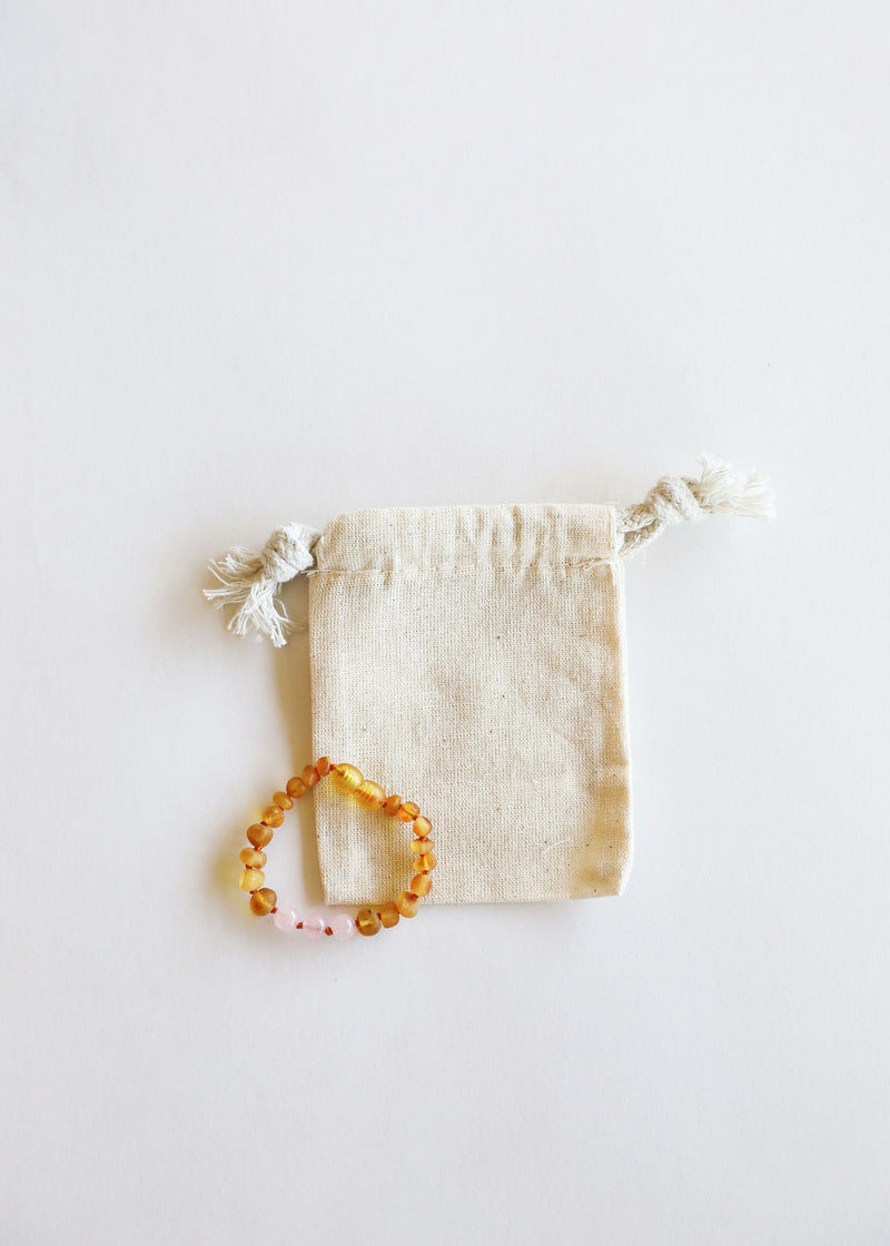 Raw Honey Amber + Rose Quartz || Kids Anklet or Bracelet