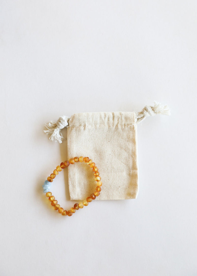 Raw Honey Amber + Raw Blue Amazonite || Adult Bracelet