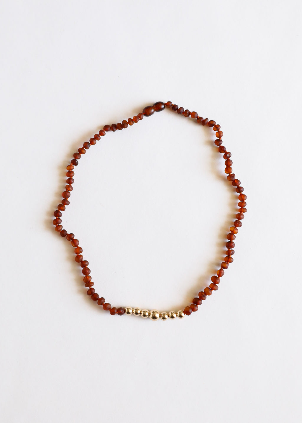 Raw Cognac Amber + 14k Gold || Adult Necklace