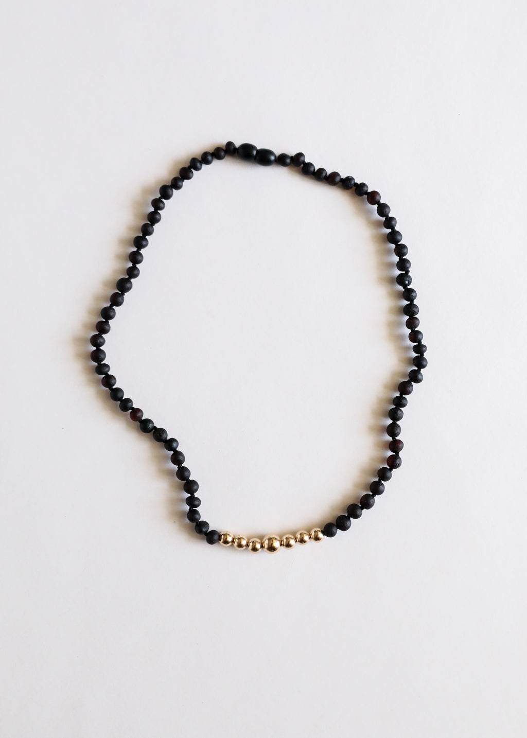 Raw Black Amber + 14k Gold || Adult Necklace