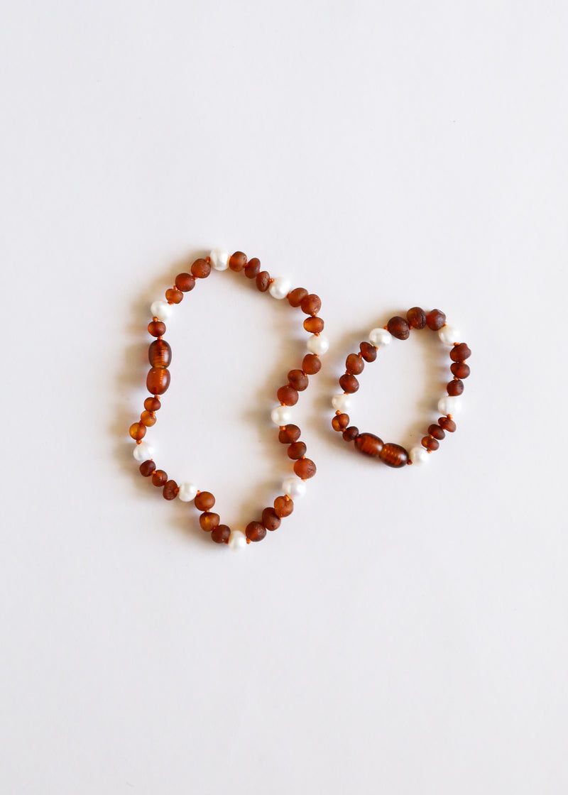 Raw Cognac Amber + Pearl Halo || Anklet or Bracelet