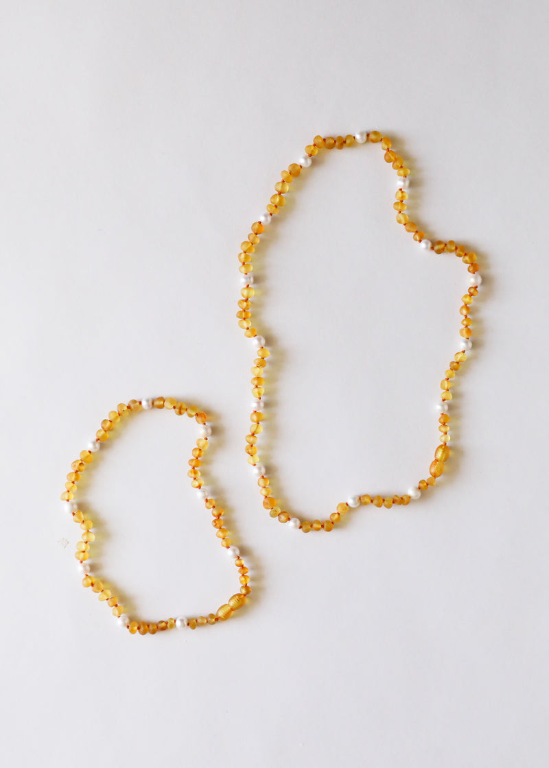 Raw Honey Amber + Pearl Halo Necklace