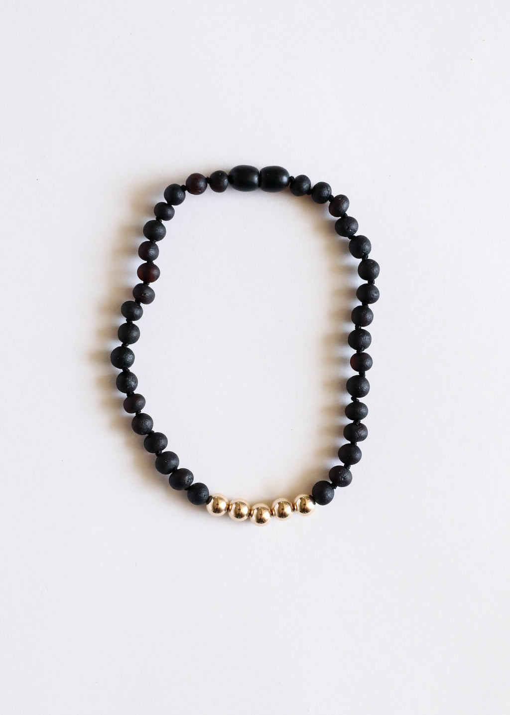 Raw Black Amber + 14k Gold || Adult Anklet