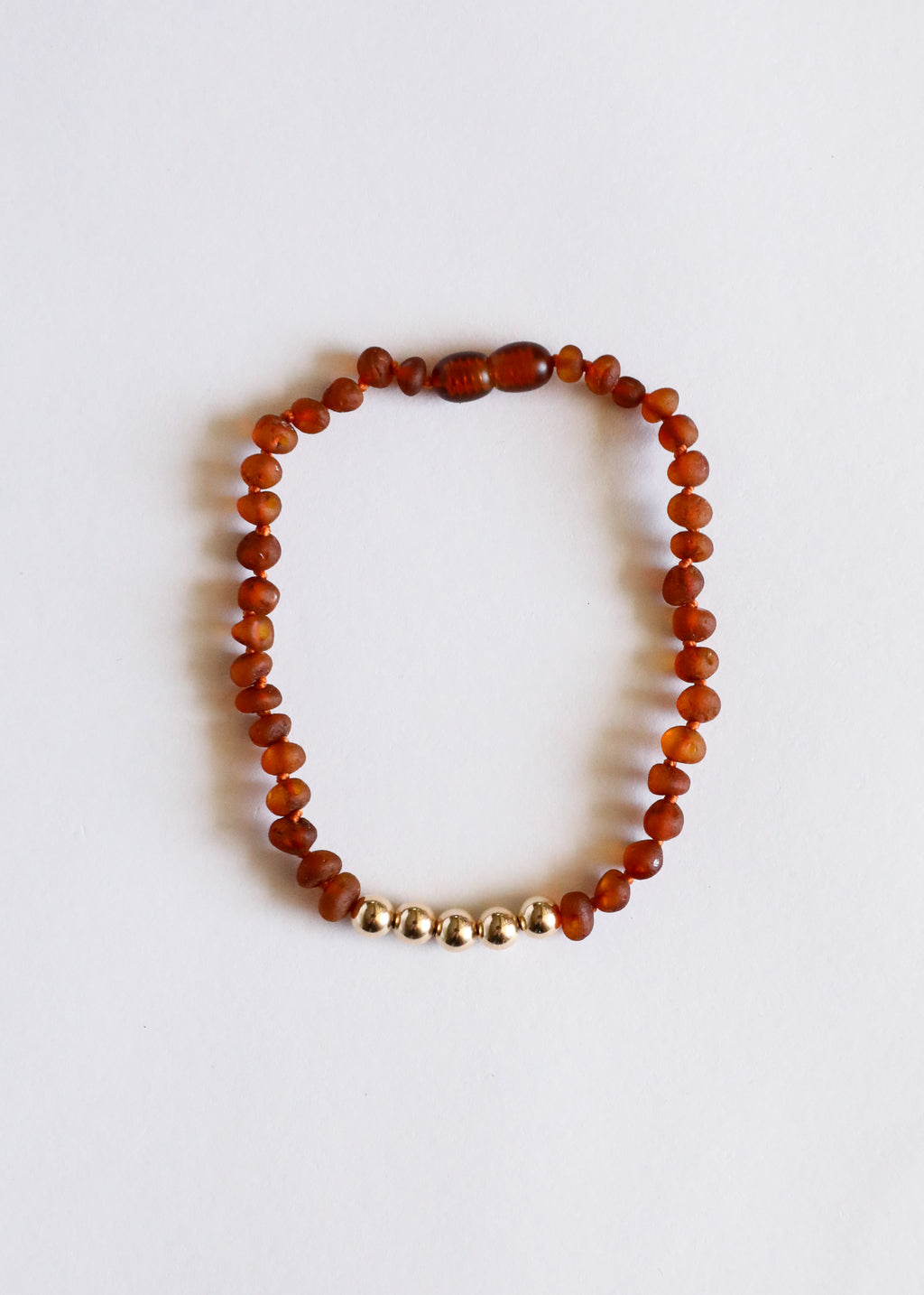 Raw Cognac Amber + 14k Gold || Adult Anklet