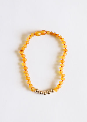 Raw Honey Amber + 14k Gold || Adult Anklet
