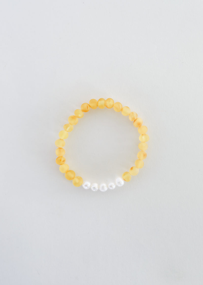 Raw Honey Amber + Pearls || Mommy & Me Bracelets
