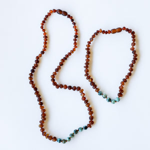 Raw Cognac Amber + Turquoise Jasper || Mommy & Me || Necklaces