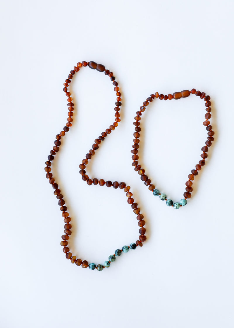 Raw Cognac Amber + Turquoise Jasper || Mommy & Me Necklaces