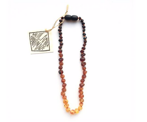Kids: Raw Cognac Amber + Vintage Style Necklace