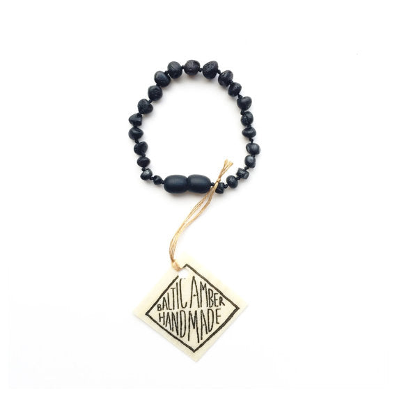 Raw Black Amber || Kids Anklet or Bracelet
