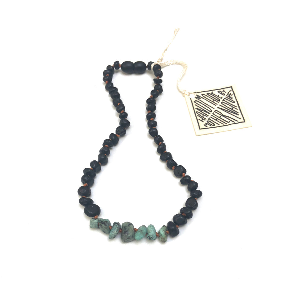 ADULT: Raw Black Amber + Raw Turquoise Jasper Necklace