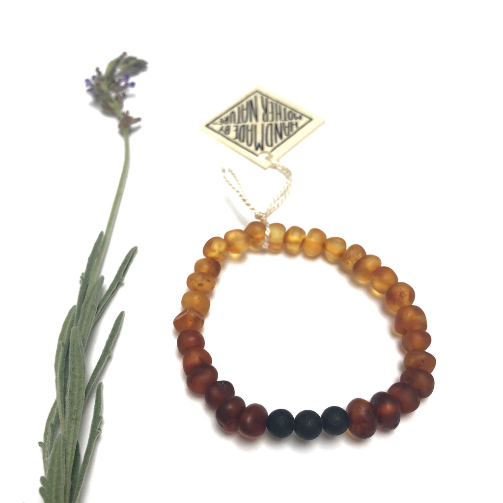 ADULT: Raw Ombre Amber + Lava Stone Bracelet