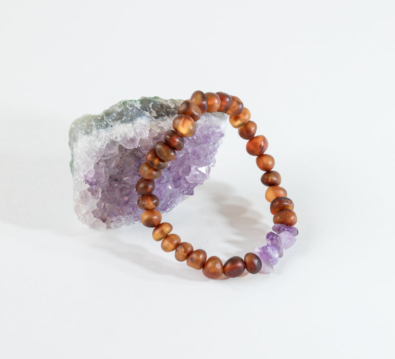 Adult: Raw Baltic Amber + Raw Amethyst Bracelet