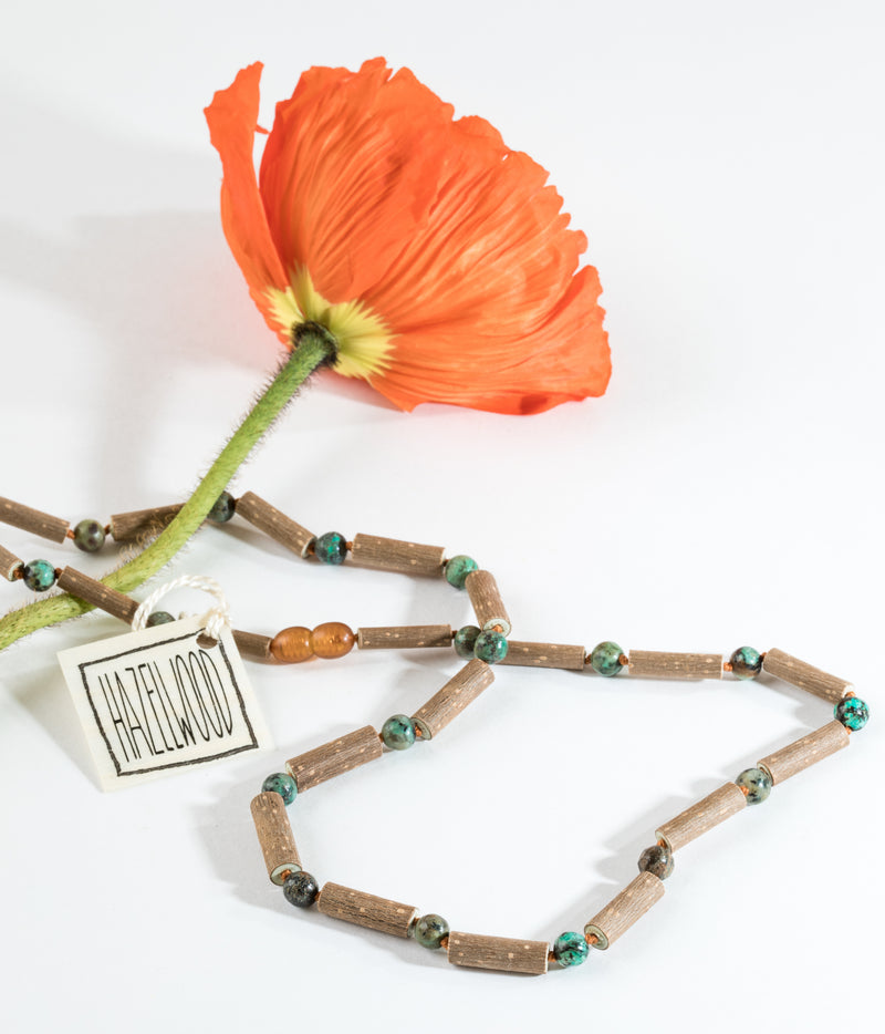 Adult: Hazelwood + Turquoise Jasper Necklace