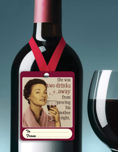 Two drinks away wine tag