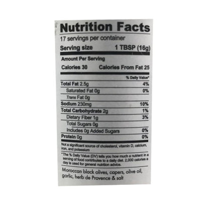 Moroccan Tapenade Nutrition Facts