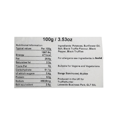 Black Truffle Crisps Nutrition Facts