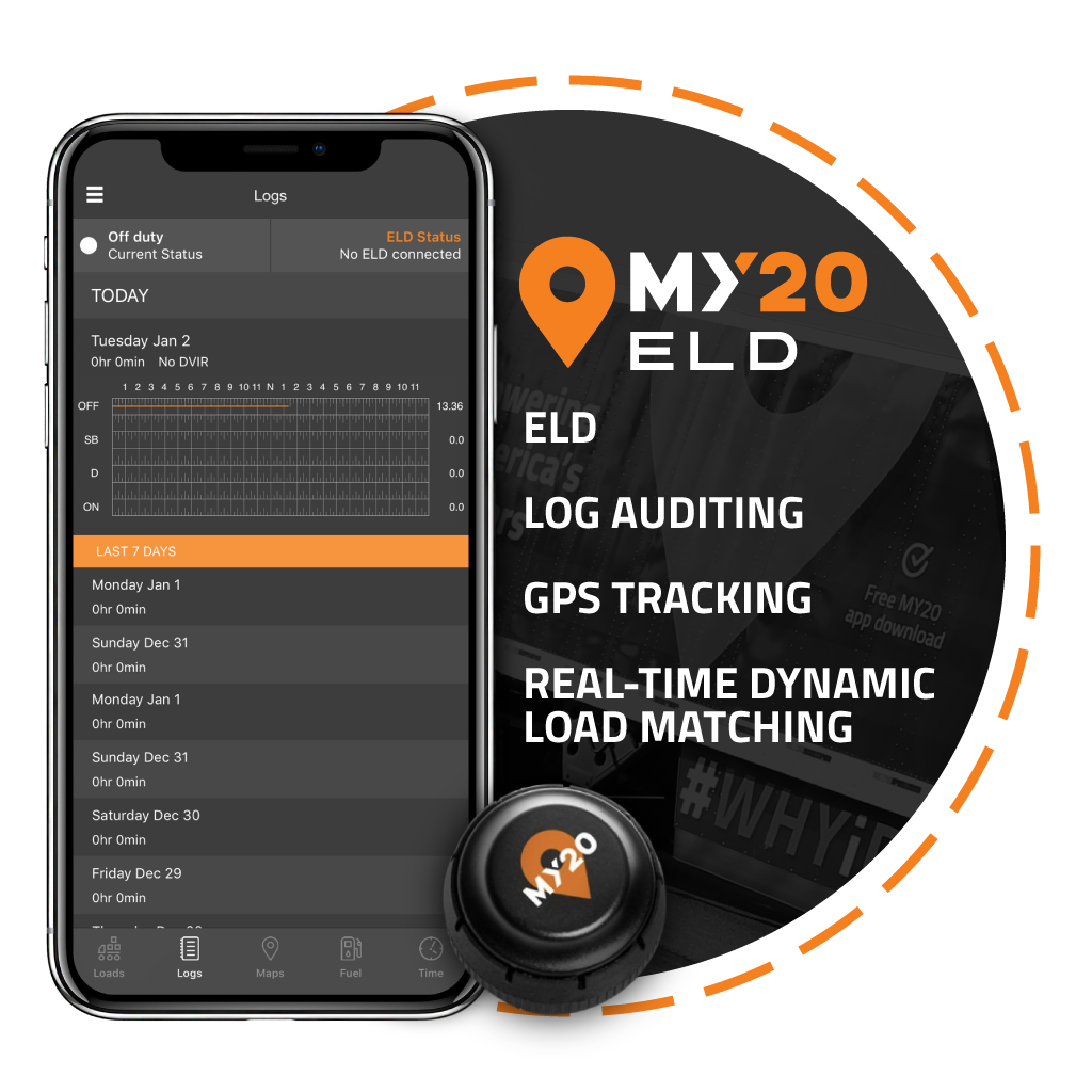 My20 ELD provides electronic logs to truck drivers. This subscription based ELD provides log auditing, gps tracking, GoLoad- Dynamic Load Matching, and more. My20 ELD is perfect for owner operators.