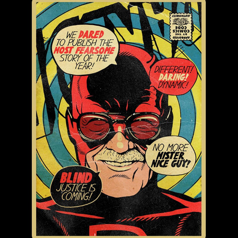 Stan Lee Daredevil Comic Book Cover Graphic T Shirt