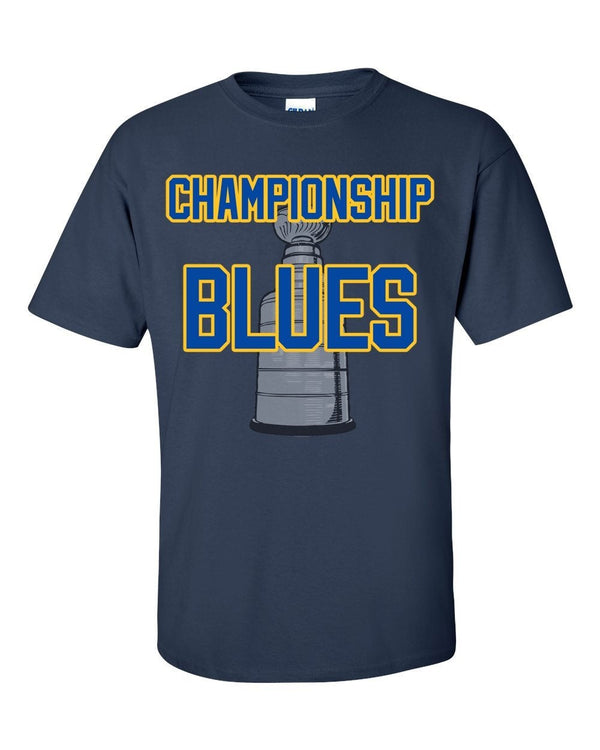 Championship Blues Hockey Graphic T, St Louis Blue Shirt