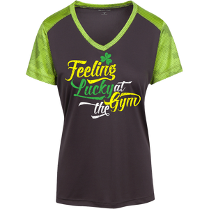 LST371 Sport-Tek Ladies' CamoHex Colorblock T-Shirt--Feeling Lucky