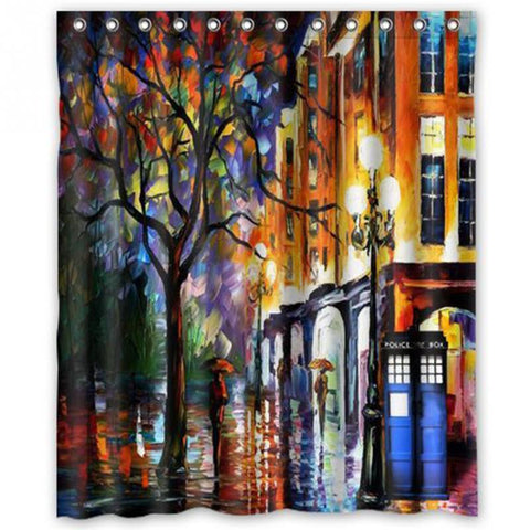 Doctor Who Tardis Oil Painting Shower Curtain MashUp