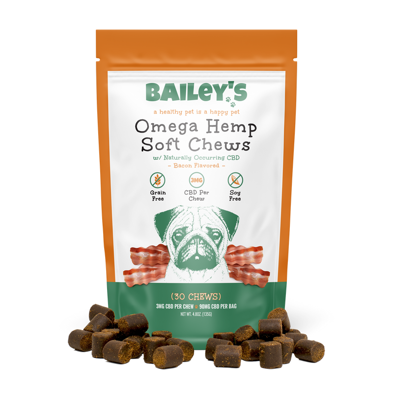 Bailey's Bacon Flavored Omega Hemp Soft Chews 30 Count Bag w/ 3MG CBD Per Chew