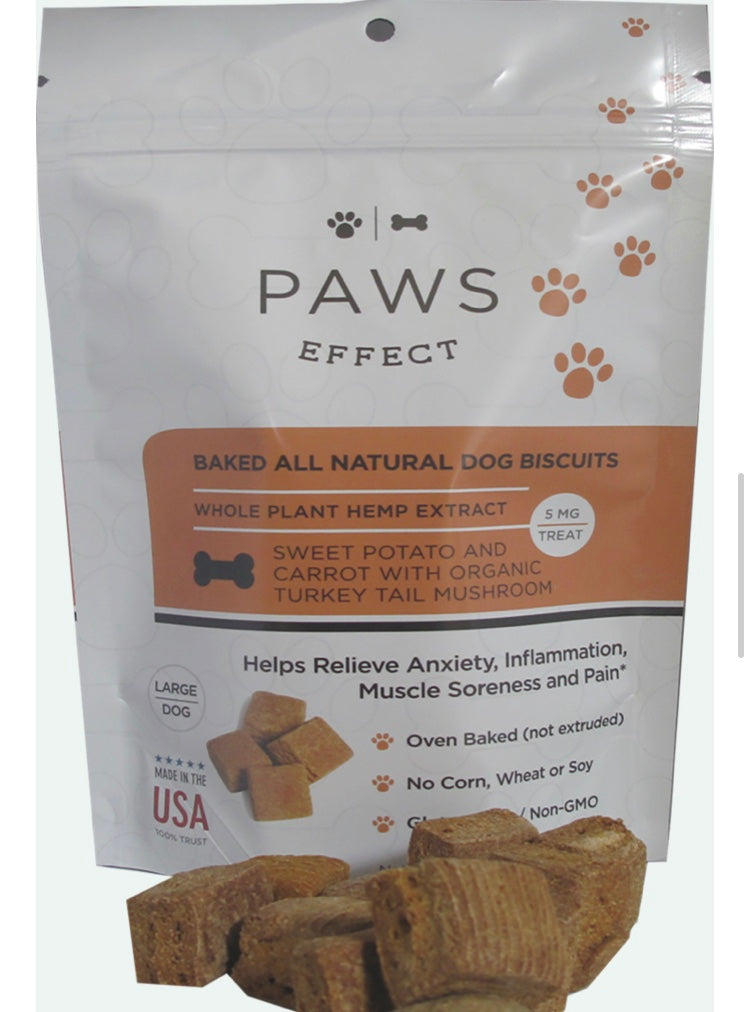 Paws Effect 5MG CBD Baked Biscuits For Large Dogs With Sweet Potato And Carrot , CBD Pet Products - Weedcommerce Marketplace