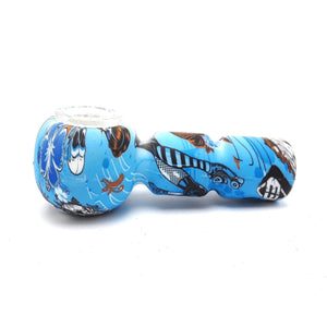 "4""  Silicone Hand Pipes Floral Leaf Multi Color Printed W/ Glass Bowl ,  - Weedcommerce Marketplace"