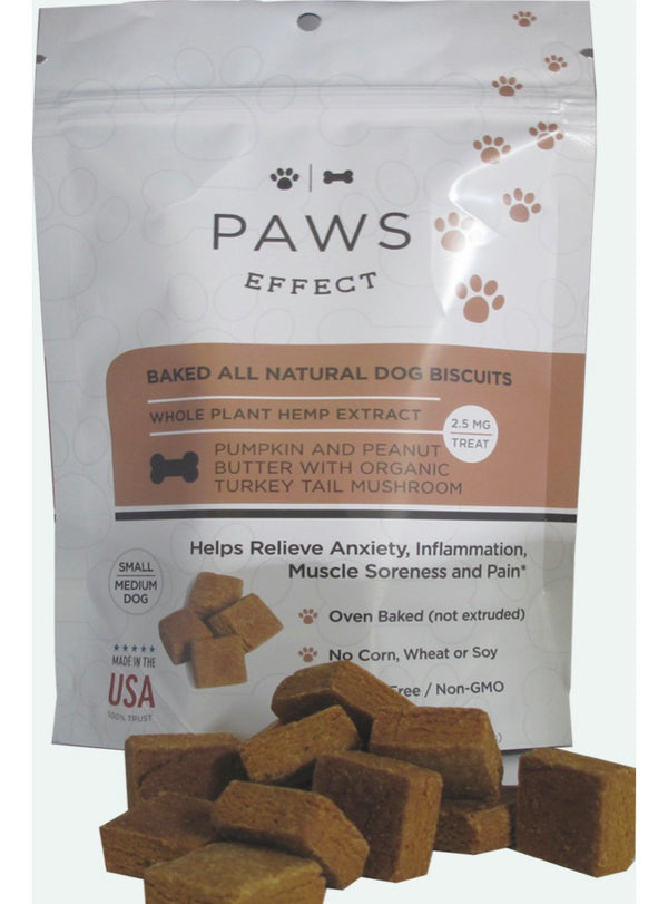 Paws Effect 2.5MG CBD Baker Biscuits For Small/Medium Dogs With Pumpkin And Peanut Butter , CBD Pet Products - Weedcommerce Marketplace