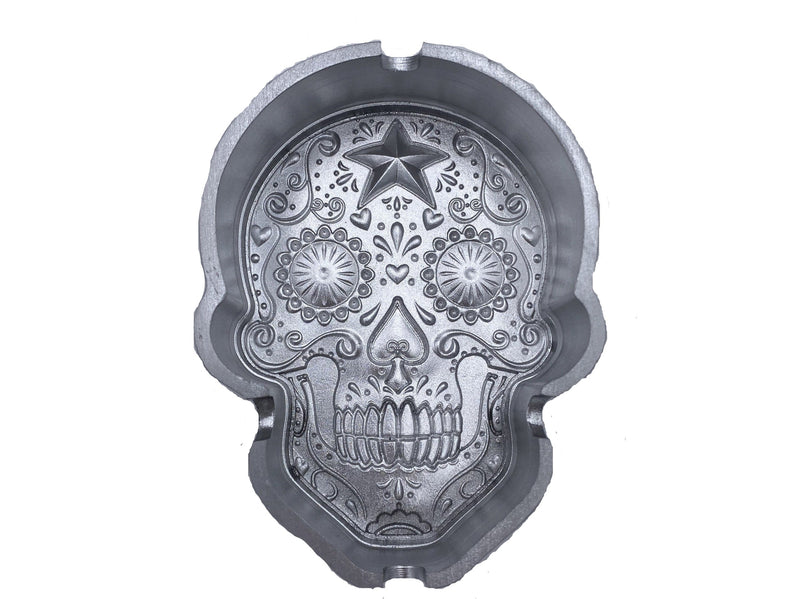 Skull Aluminum Ashtray - Chrome Color- (1 Count)