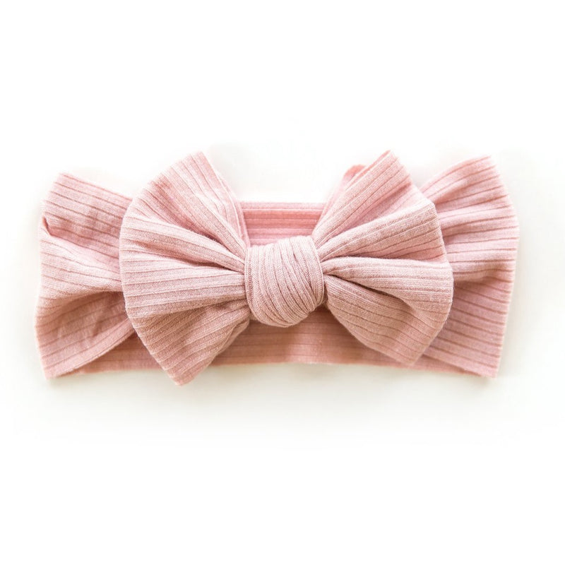 Ribbed Bow Headband in Blush