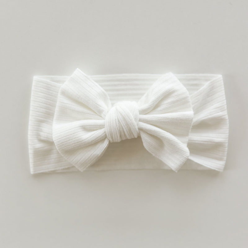 Ribbed Bow Headband in White
