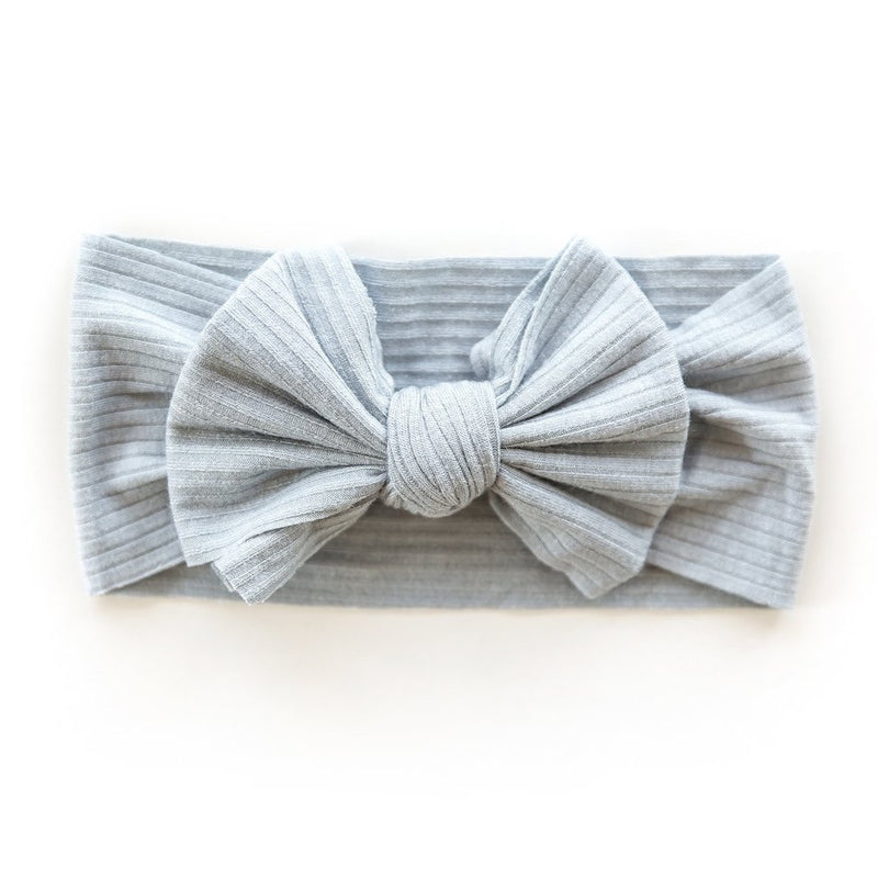 Ribbed Bow Headband in Vintage Blue