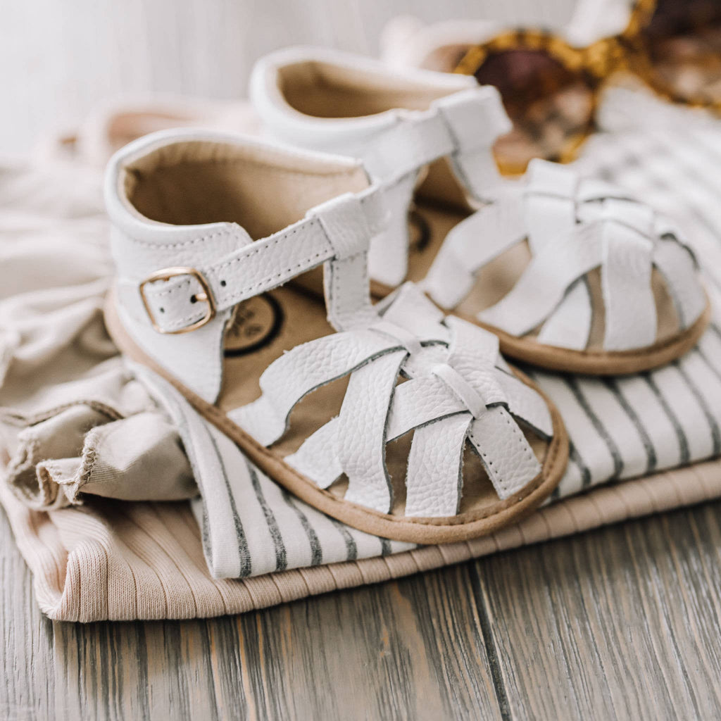 Little Love Bug White Closed Toe Sandal