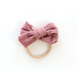 Corduroy Nylon Headband in Rosy Pink