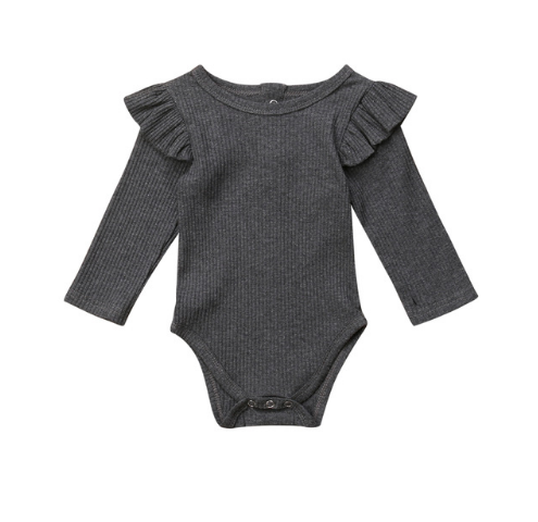 Essential Ruffle Onesie - Charcoal Long Sleeve