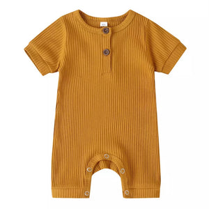 Essential Ribbed Shorty-Suit in Gold
